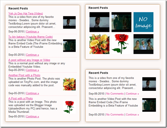 recent posts widget with thumbnails from blogger plugins